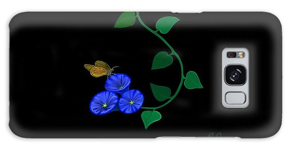 Blue Flower Butterfly Galaxy Case