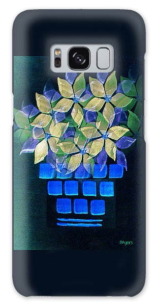 Blue Flower Pot Galaxy Case by Paula Ayers