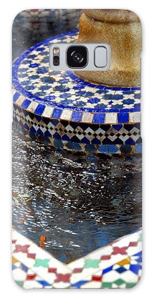 Blue Mosaic Fountain II Galaxy Case by Bonnie Myszka