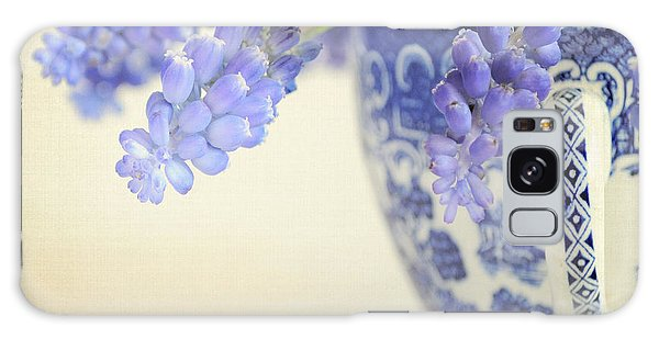 Blue Muscari Flowers In Blue And White China Cup Galaxy Case by Lyn Randle