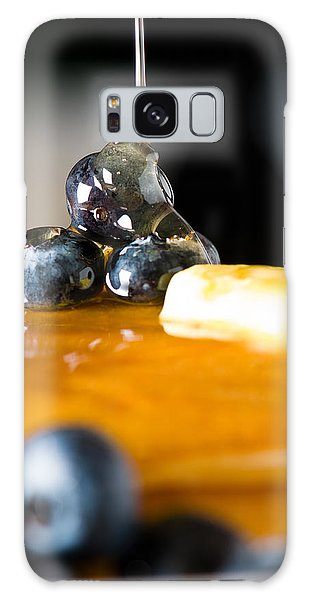 Blueberry Butter Pancake With Honey Maple Sirup Flowing Down Galaxy Case