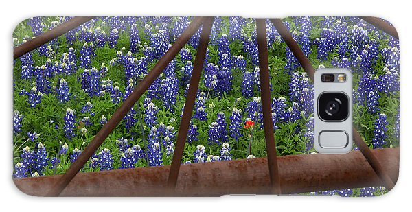 Bluebonnets And Rusted Iron Wheel Galaxy Case