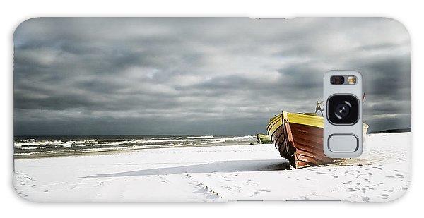 Boat On Snowy Beach Galaxy Case