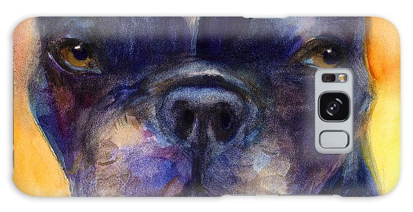 Watercolor Pet Portraits Galaxy Case - Boston Terrier Dog Portrait Painting In Watercolor by Svetlana Novikova