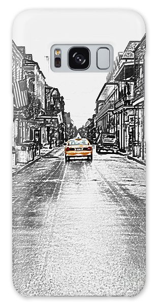 Bourbon St Taxi French Quarter New Orleans Color Splash Black And White Colored Pencil Digital Art Galaxy Case