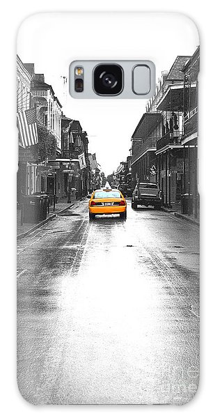 Bourbon Street Taxi French Quarter New Orleans Color Splash Black And White Film Grain Digital Art Galaxy Case by Shawn O'Brien