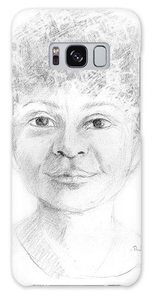 Boy Or Girl Woman Or Man African Or Asian Has Curly Hair Big Lips And A Big Head Galaxy Case by Rachel Hershkovitz