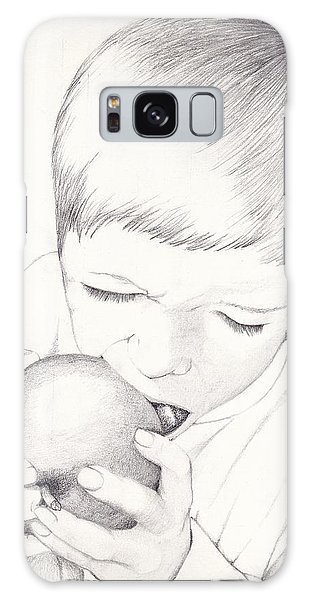 Galaxy Case featuring the photograph Boy With Apple by Kelly Hazel