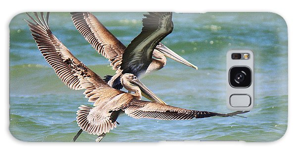 Brown Pelicans Taking Flight Galaxy Case