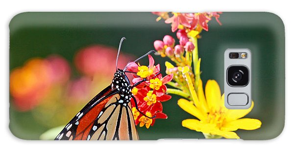 Butterfly Monarch On Lantana Flower Galaxy Case