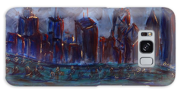 Chicago Night Skyline With Lake Sail Boats On Water Buildings And Architecture In Blue Orange Green  Galaxy Case by M Zimmerman MendyZ