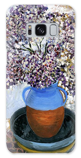 Colorful Impression Of Purple Flowers In Blue Brown Ceramic Vase Yellow Plate With Green Branches  Galaxy Case by Rachel Hershkovitz