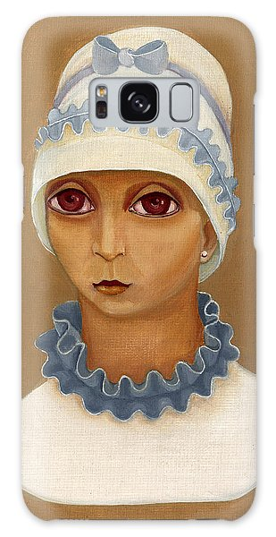 Colorful Young Woman Brown Eyes Blue White Hat Collar  With Ribbon Small Lips Galaxy Case by Rachel Hershkovitz