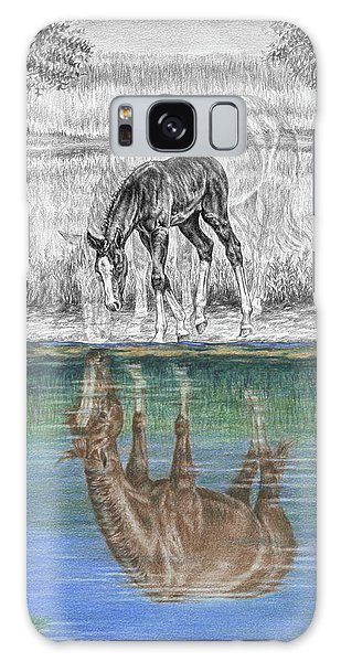 Contemplating Reality - Mare And Foal Horse Print Galaxy Case
