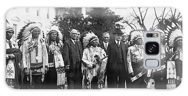 Coolidge With Native Americans Galaxy Case