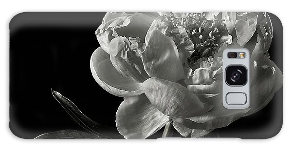 Coral Peony In Black And White Galaxy Case by Endre Balogh
