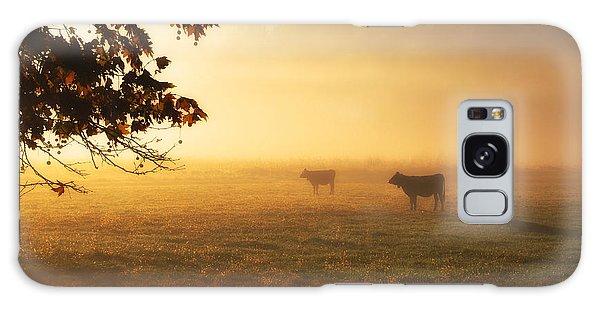 Cows In A Foggy Field Galaxy Case