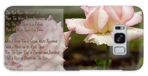 Cream White Rosebud With Poem Galaxy Case