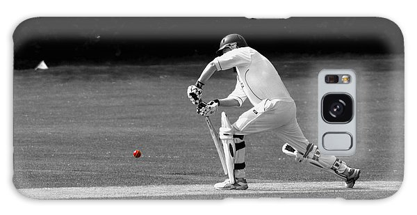 Cricketer In Black And White With Red Ball Galaxy Case