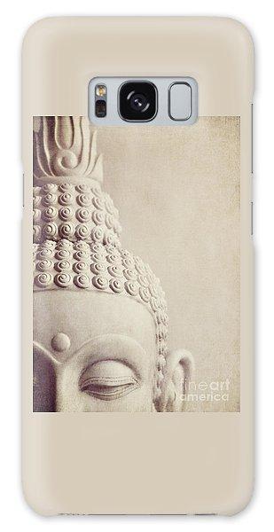 Cropped Stone Buddha Head Statue Galaxy Case