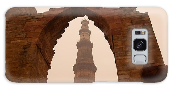 Cross Section Of The Qutub Minar Framed Within An Archway In Foggy Weather Galaxy Case