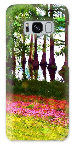 Cypress With Oxalis Galaxy Case by Judi Bagwell