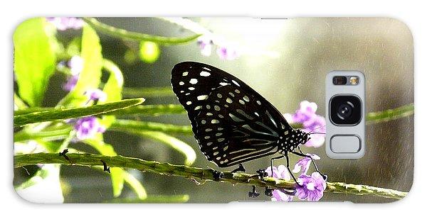 Dark Blue Tiger Butterfly In The Rain Galaxy Case