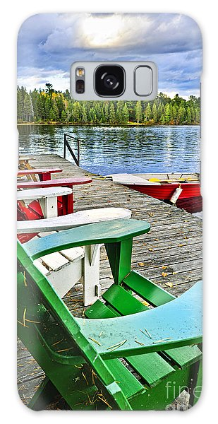 Adirondack Chair Galaxy Case - Deck Chairs On Dock At Lake by Elena Elisseeva