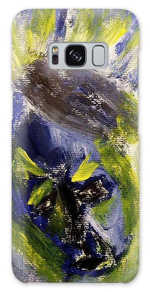Despondent Expressionistic Portrait Figure In Blue And Yellow Religious Symbols Of Glory Bursting Galaxy Case