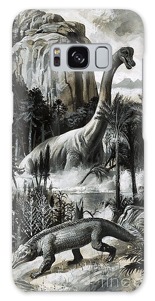 Dinosaurs Galaxy Case by Roger Payne