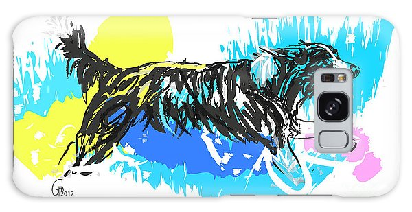 Dog Running In Water Galaxy Case
