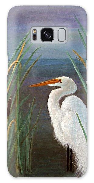 Egret In Cattails Galaxy Case