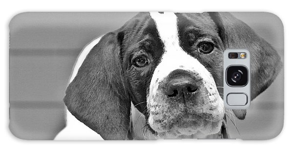 English Pointer Puppy Black And White Galaxy Case