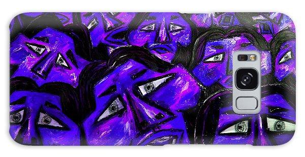 Galaxy Case - Faces - Blue by Karen Elzinga