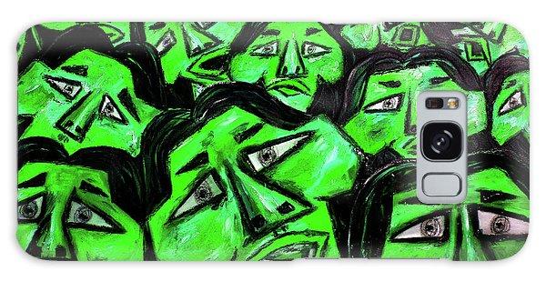 Galaxy Case - Faces - Green by Karen Elzinga