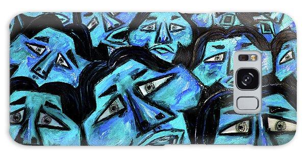 Galaxy Case - Faces - Light Blue by Karen Elzinga