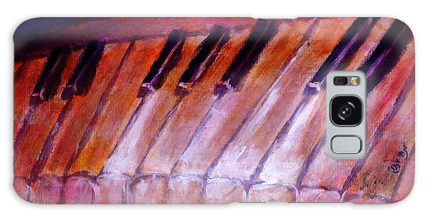 Feeling The Blues On Piano In Magenta Orange Red In D Major With Black And White Keys Of Music Galaxy Case