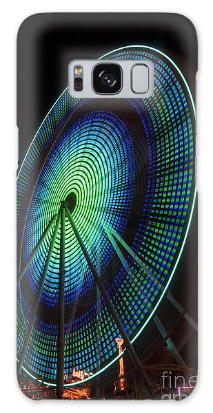 Ferris Wheel Lit Shades Of Green And Blue Galaxy Case by Darleen Stry