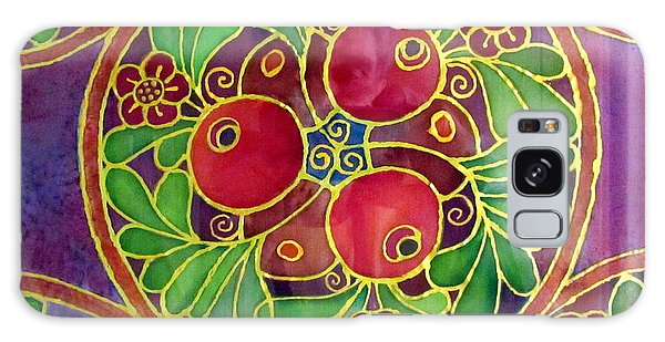 Festive Pomegranates In Gold And Vivid Colors Wall Decor In Red Green Purple Branch Leaves Flowers Galaxy Case