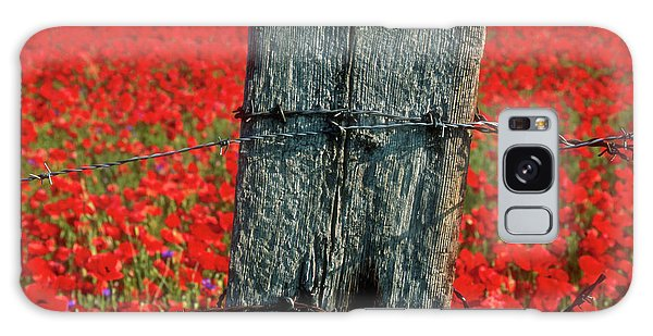 Fence Post Galaxy Case - Field Of Poppies With A Wooden Post. by Bernard Jaubert