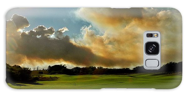 Fire Clouds Over A Golf Course Galaxy Case by Kirsten Giving