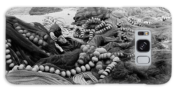 Fisherman Sleeping On A Huge Array Of Nets Galaxy Case