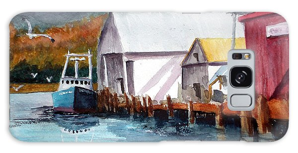 Fishing Boat And Dock Watercolor Galaxy Case