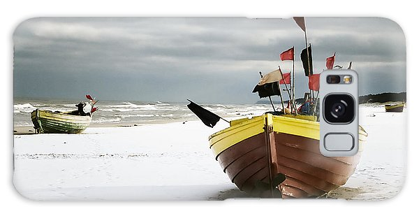 Fishing Boats At Snowy Beach Galaxy Case