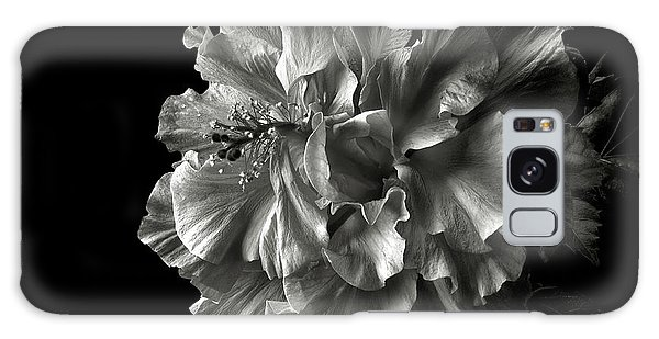 Fluffy Hibiscus In Black And White Galaxy Case