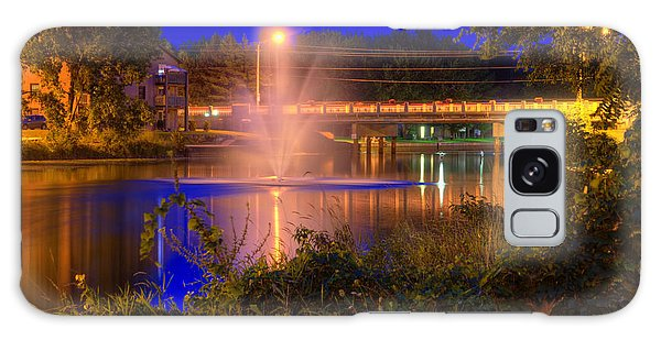 Fountain And Bridge At Night Galaxy Case