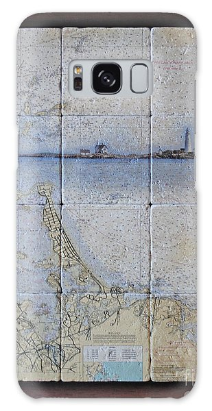 Framed Nautical Chart Of Hingham And Hull With Boston Light  Galaxy Case