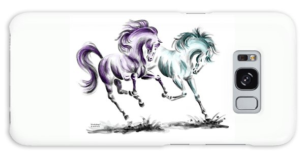 Frolicking - Wild Horses Print Color Tinted Galaxy Case by Kelli Swan