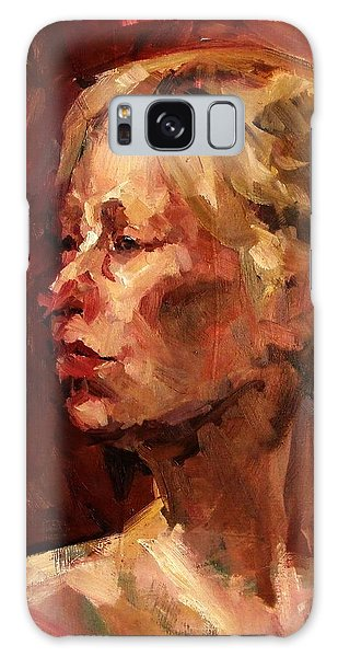 Golden Hair Portrait Of Woman Head In Crimson Yellow Hardworking Fieldworker Mother Whos Thoughtful Galaxy Case