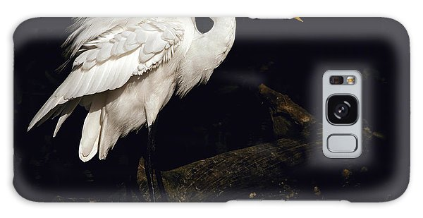 Great Egret Ruffles His Feathers Galaxy Case